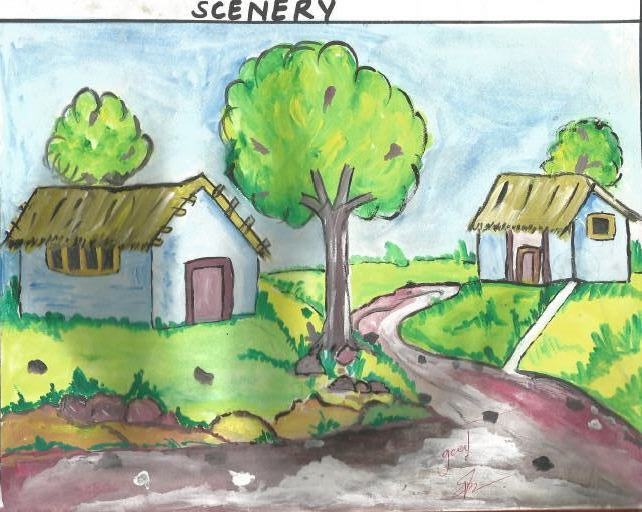 642x512 Lovely Village Painting