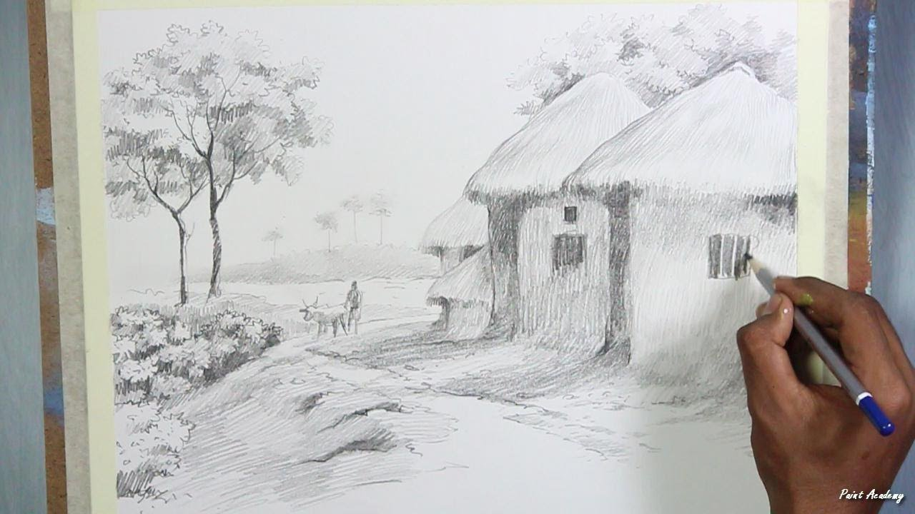 1280x720 Pencil Drawing Techniques Village Landscape Drawing Step By Step
