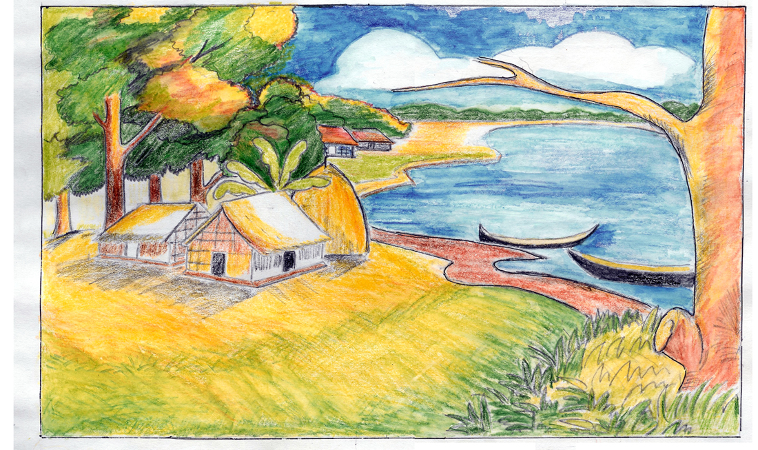 1100x653 Photos Drawing Of Village Scenery,