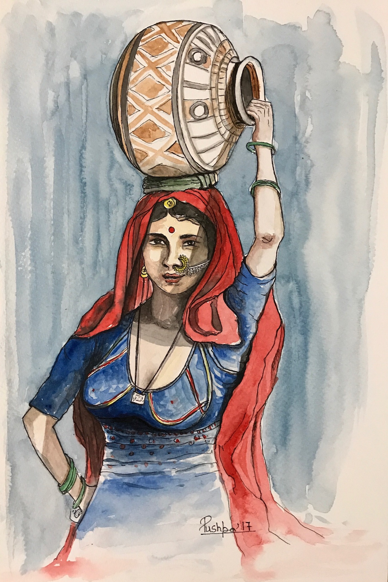 1336x2002 Indian Village Woman With Pot Handmade Painting By Pushpa