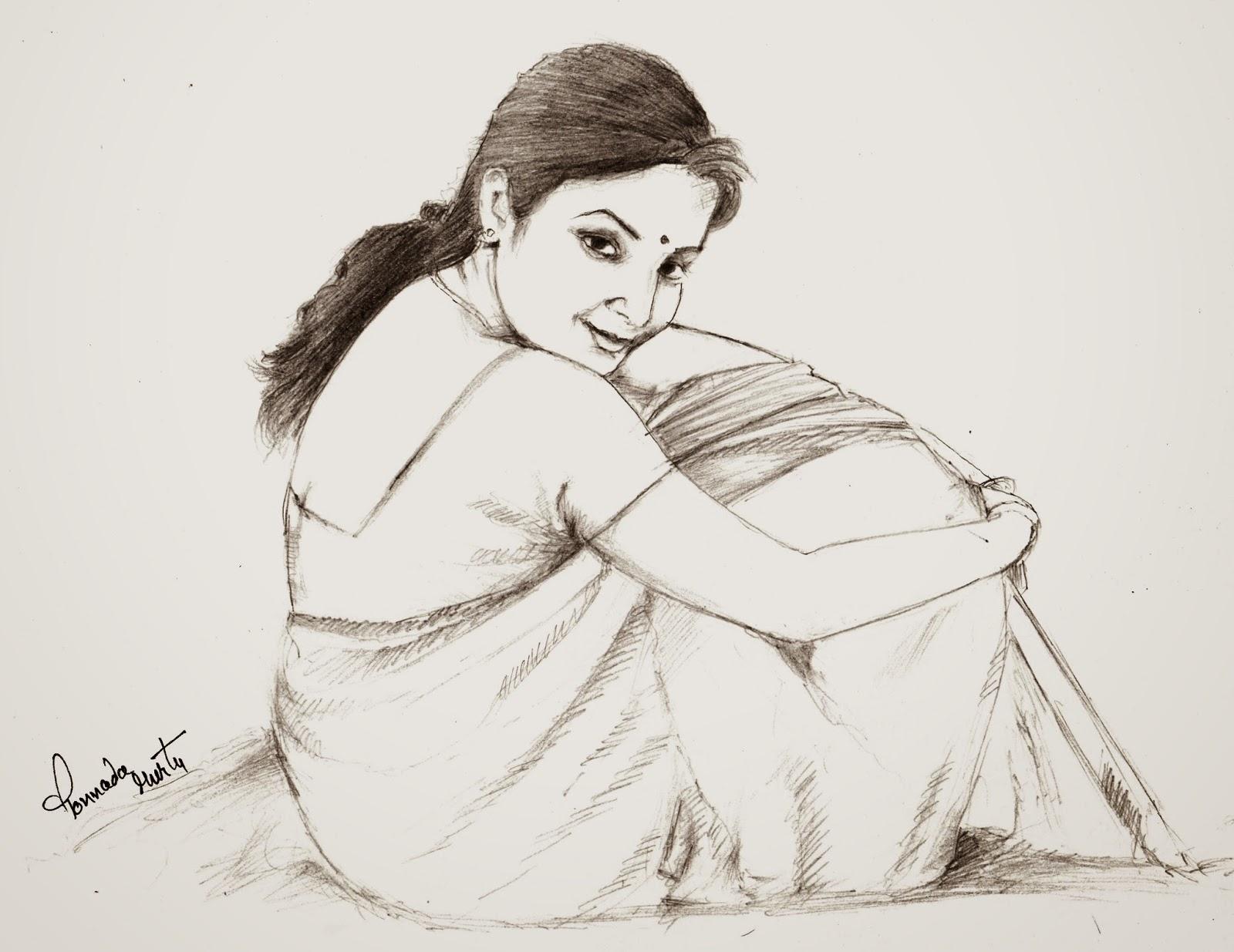 1600x1235 Pencil Sketch Of Indian Village Gallery Village Girl Pencil