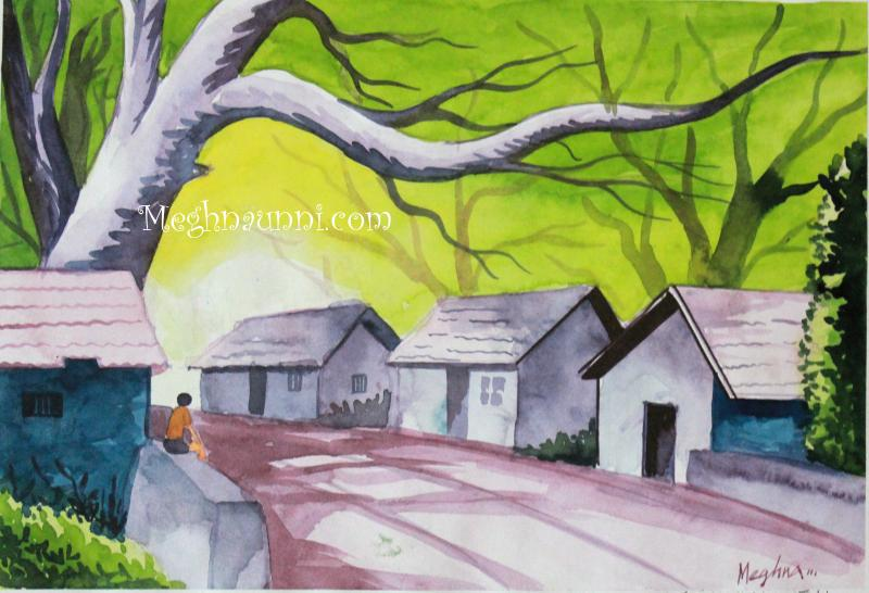 800x546 An Indian Village Scene Water Colour Painting