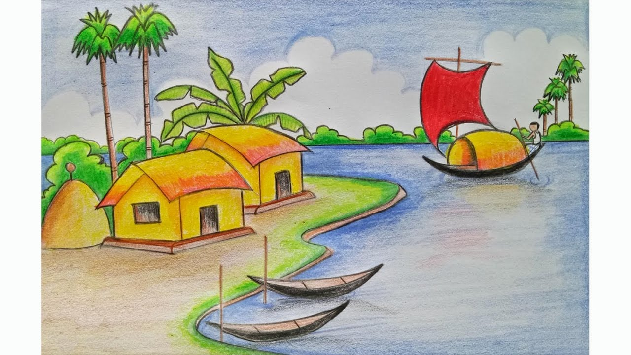 1280x720 Drawing Village Scenery Without Colour How To Draw A Village