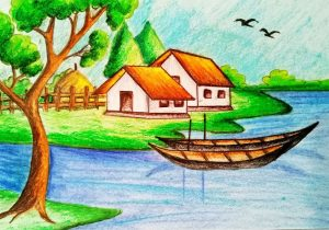 300x210 Easy Village Scene Drawing How To Draw A Village Scenery Stepstep