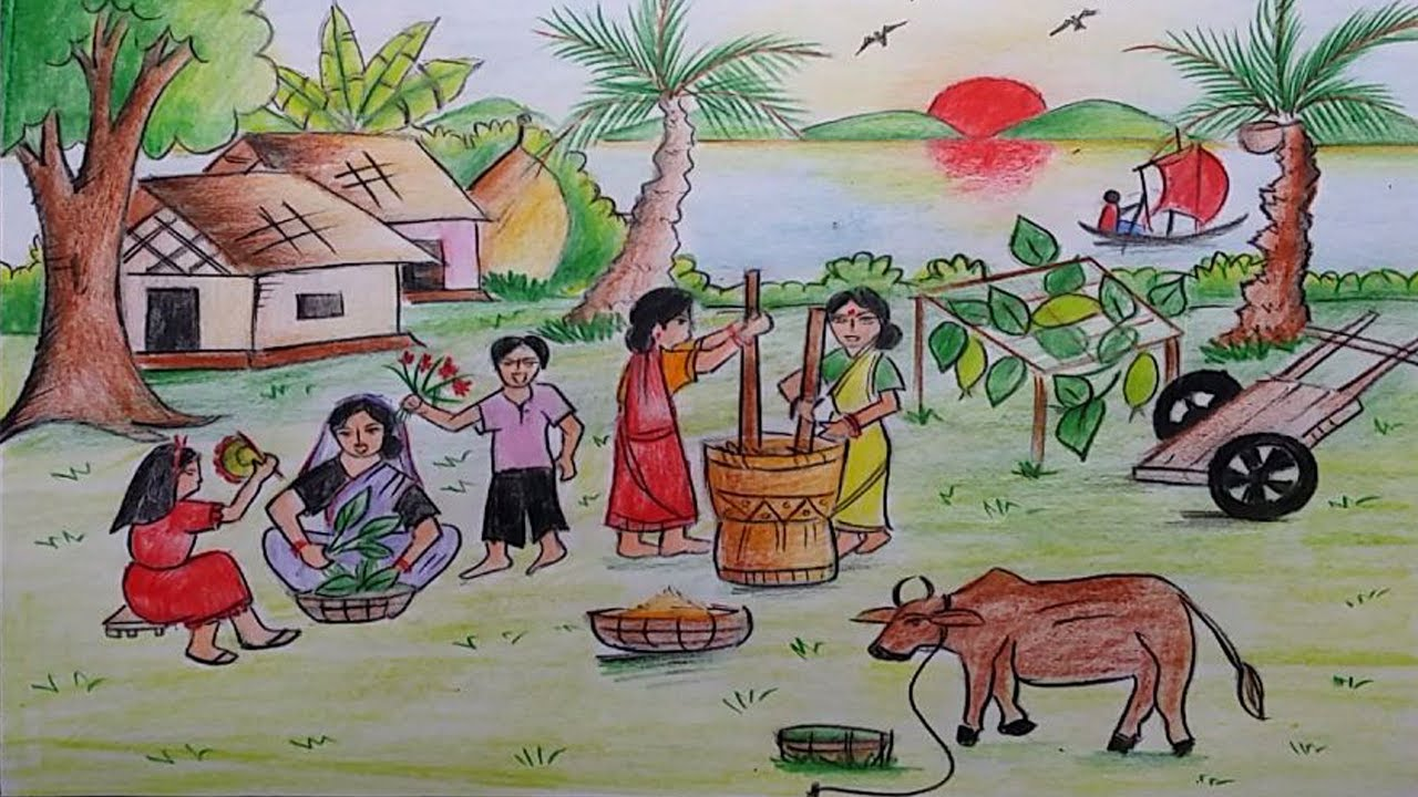 1280x720 How To Draw A Village Scene Of The Old Tradition Of Bangladesh