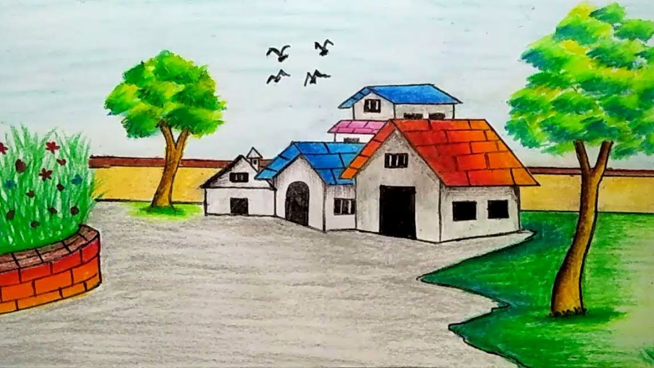 1280x720 How To Draw Village Scenery (Landscape Scene Drawing Tutorial) S