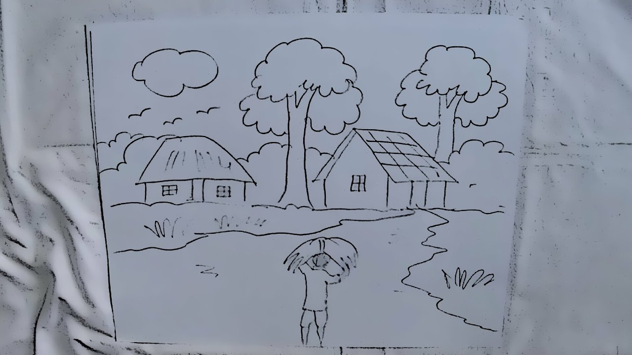 1280x720 Simple Village Related Pencil Drawing For Kids How To Draw
