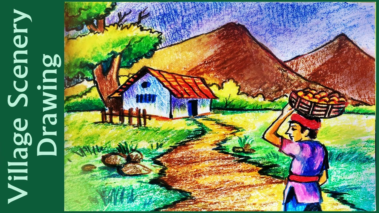 1280x720 Village Scene Drawing Images How To Draw A Village Scenery