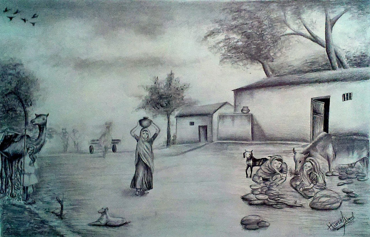 1280x820 Village Scenery Pencil Drawing Village Scenery Pencil Drawing