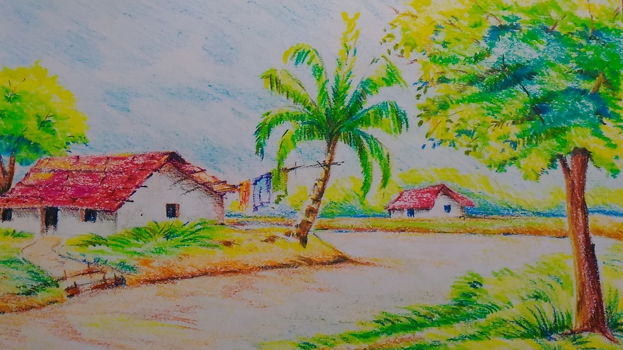 1280x720 Indian Village Scenery Drawing For Kids Beautiful Drawing Painting