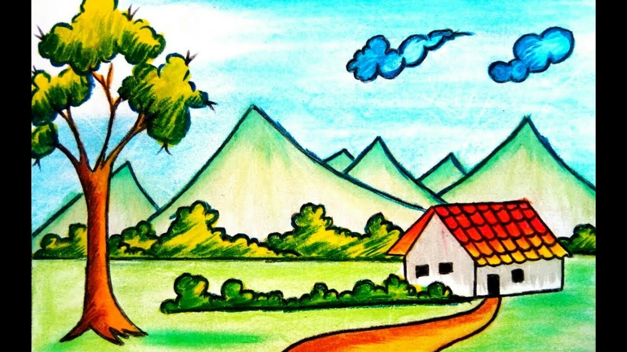 1280x720 Natural Scenery Drawing For Kids
