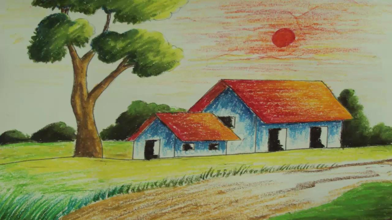 1280x720 Picture Of Scenery Kids Drawing Village Scenery Drawing