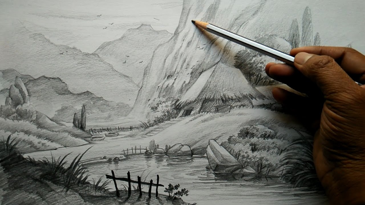 1280x720 How To Draw Village Landscape With Pencil Pencil Art