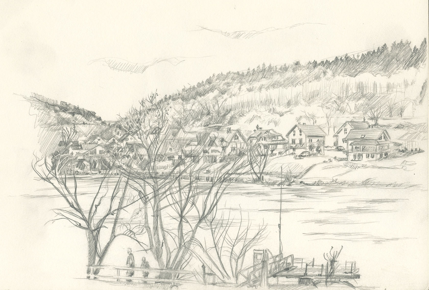 1680x1135 Image Result For Pencil Village Sketch Far Away Simple