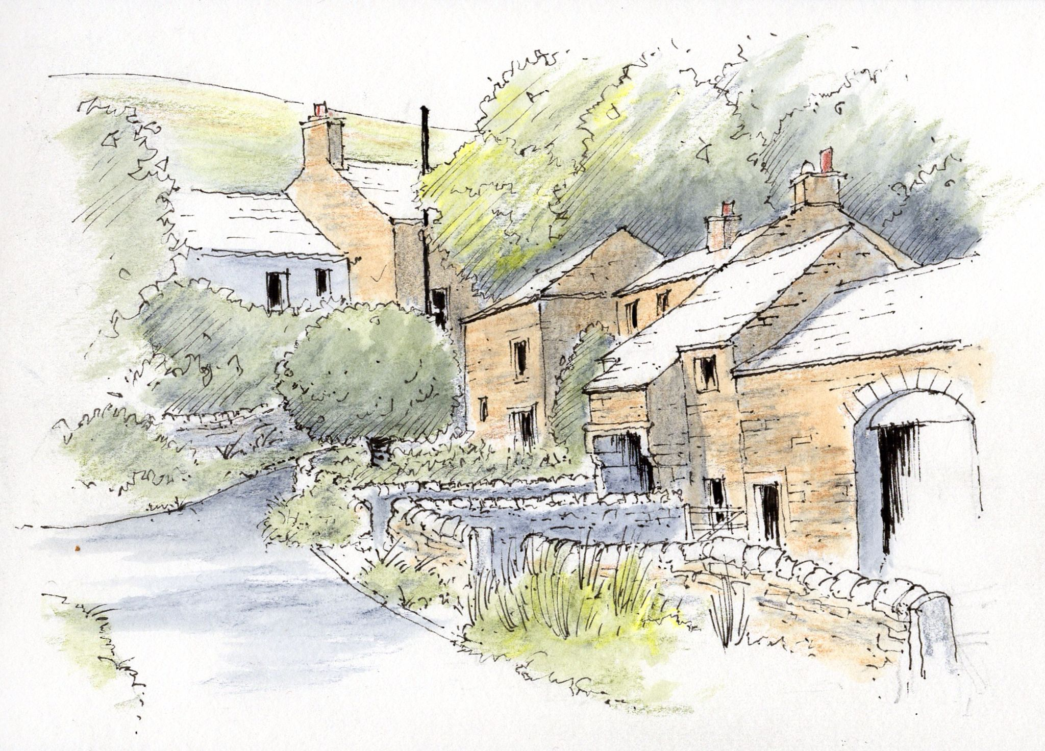 2048x1472 The Village Of Thorpe In The Yorkshire Dales ~ Sketch ~ John