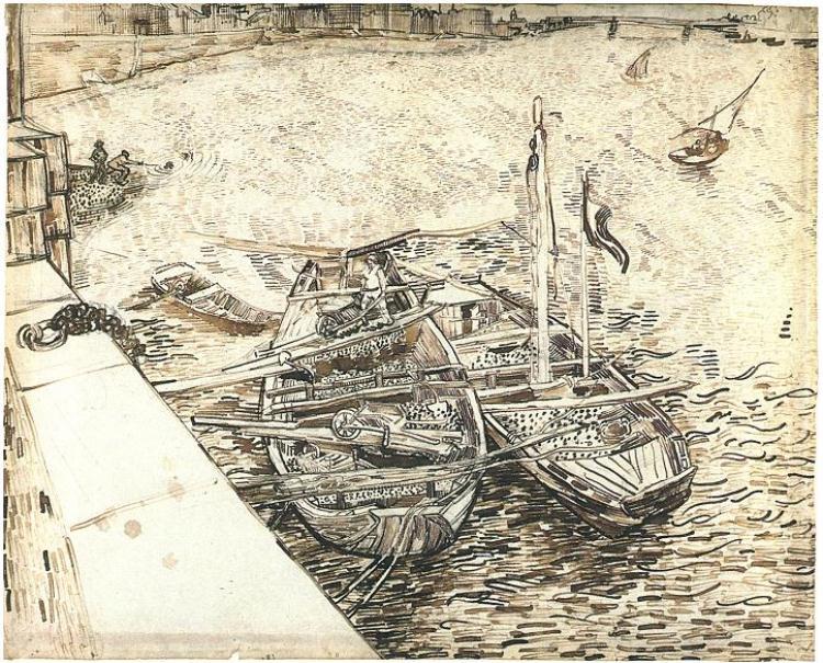 750x605 Vincent Van Gogh, Boats Being Loaded Landscape Van