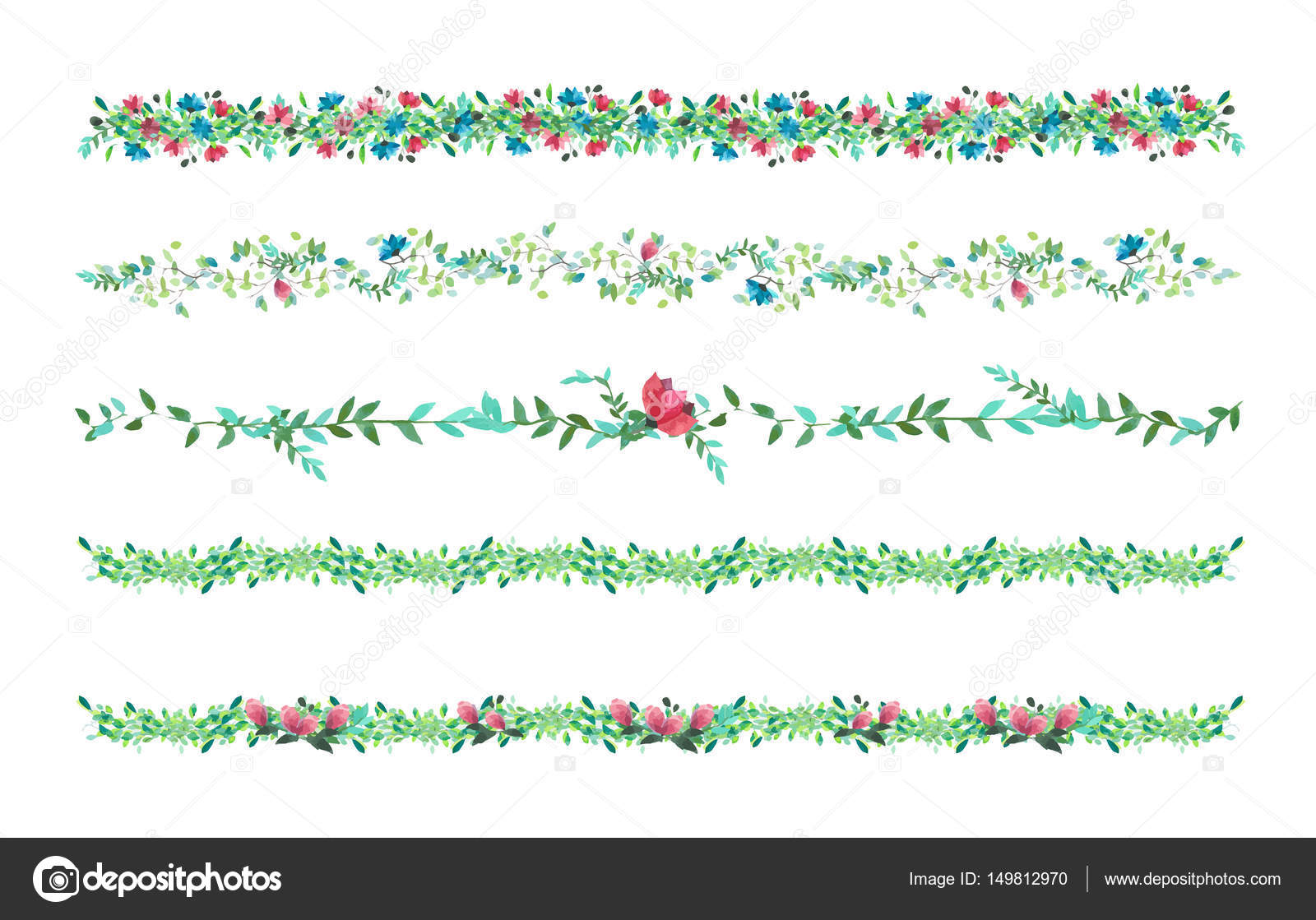 1600x1119 Vector Floral Vines, Border, Liana With Leaves And Flowers