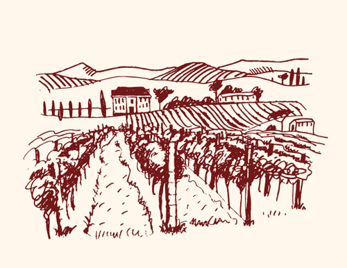 500x386 Hand Drawn Retro Vineyard Elements Vector 03