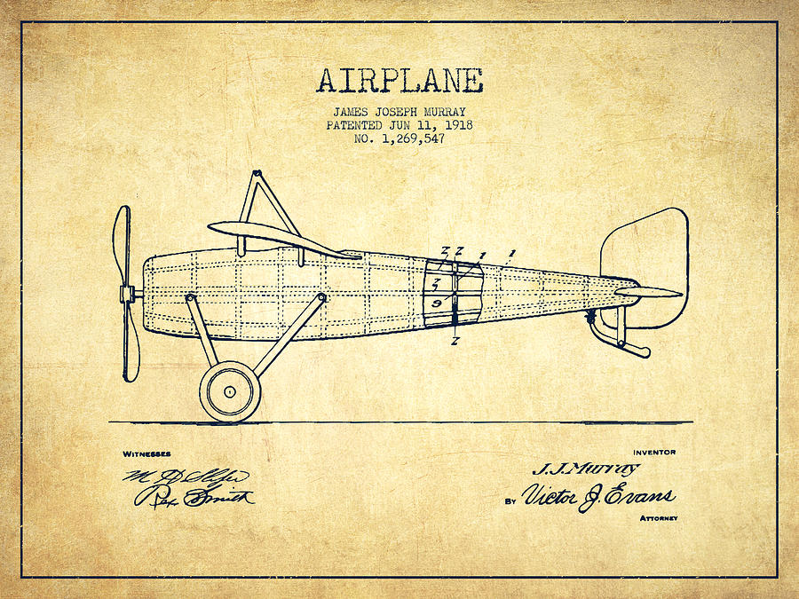900x675 Airplane Patent Drawing From 1918