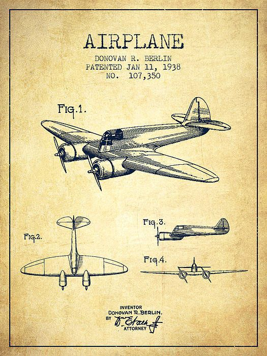 525x700 Airplane Patent Drawing From 1938 Vintage Poster By Aged Pixel