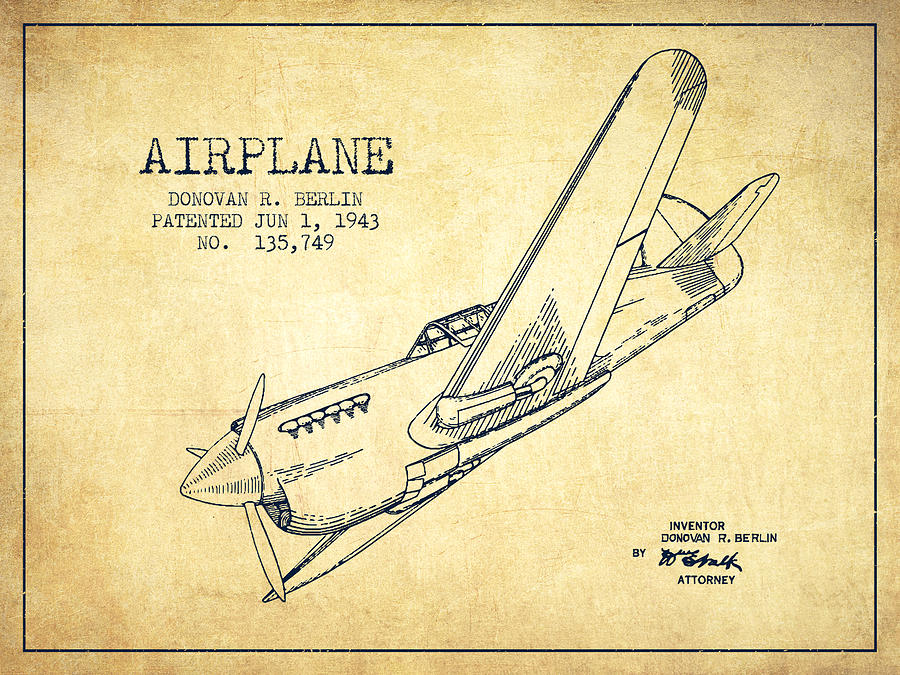 900x675 Airplane Patent Drawing From 1943 Vintage Digital Art By Aged Pixel