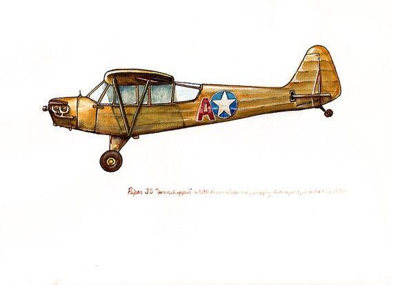 570x414 Piper J3 Grasshopper Vintage Airplane Watercolor Print 8x10