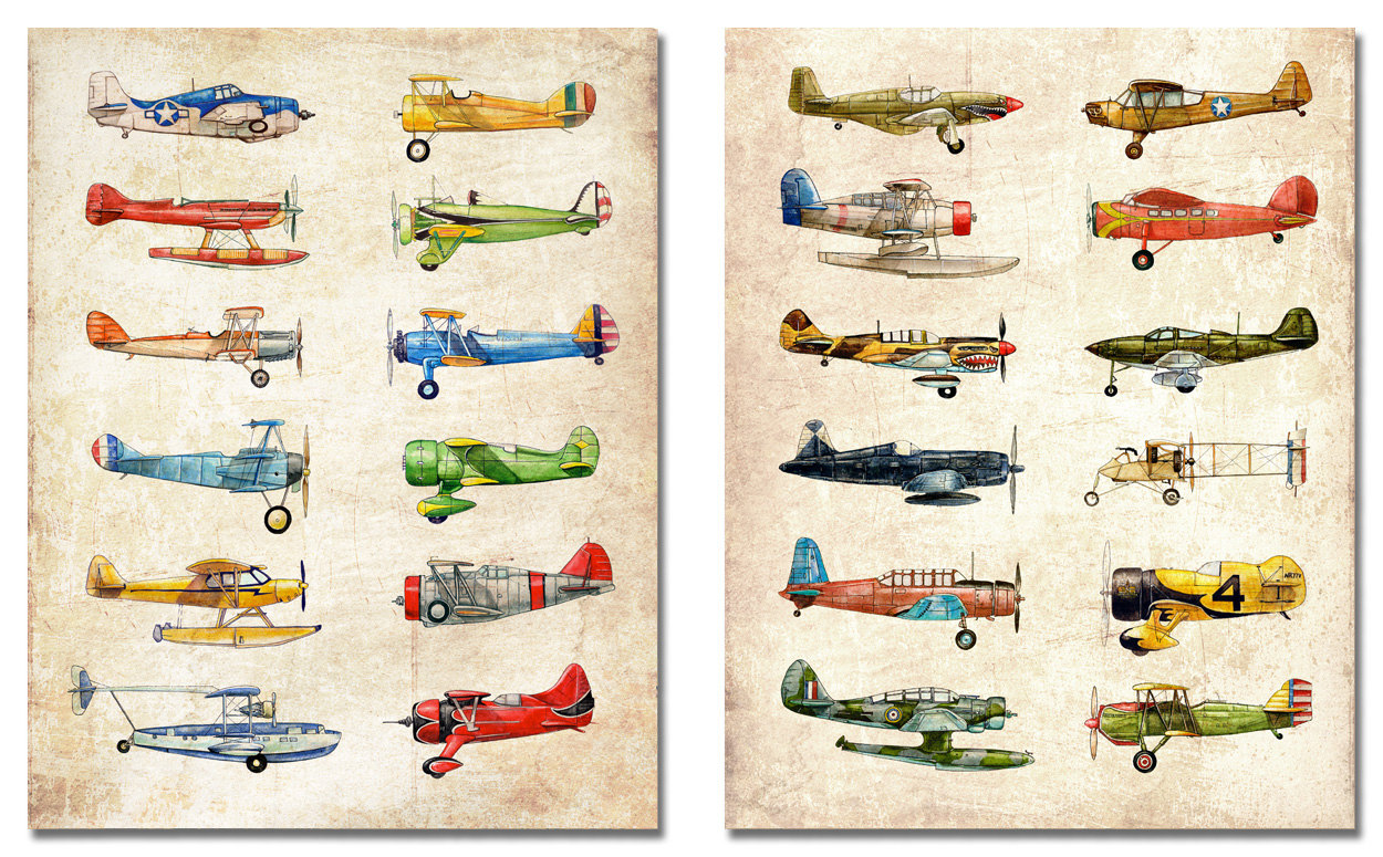 1250x775 Two 11x14 Vintage Airplane Collection, Antiqued Watercolor Prints
