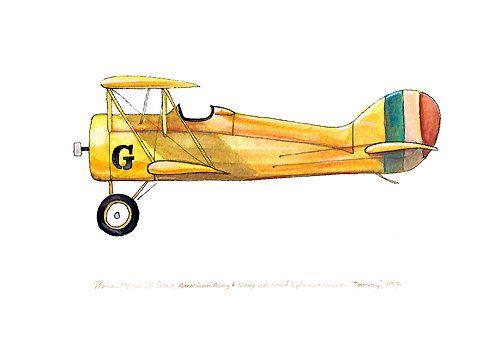 500x364 Thomas Morse S 4 Scout Vintage Airplane Watercolor Print, 8x10