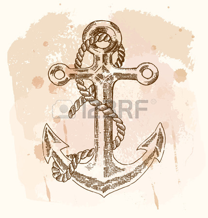 429x450 Vintage Anchor Graphic On White Background. Hand Drawn Vector