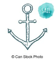 180x195 Vintage Anchor Graphic On White Background. Hand Drawn Vectors