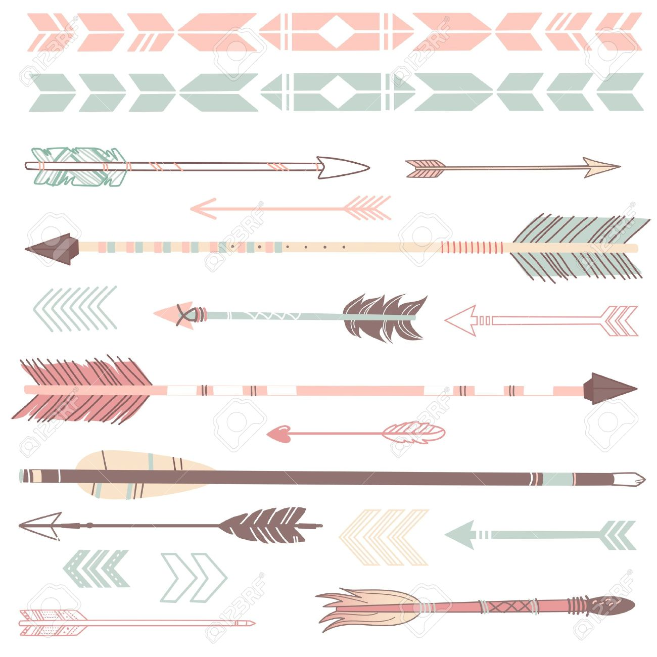 1300x1300 A Set Of Cute Hipster Arrows, Hand Drawn Doodles Royalty Free
