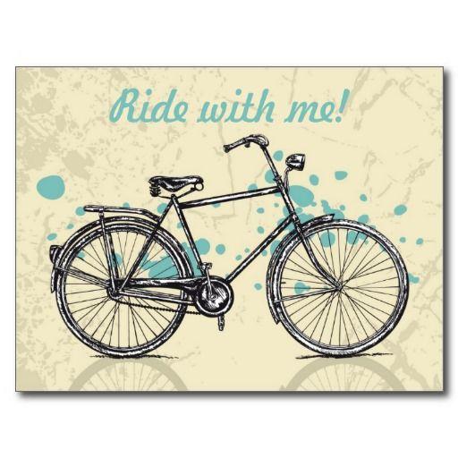512x512 Bicycle Drawing Vintage Bicycle Drawing Postcard