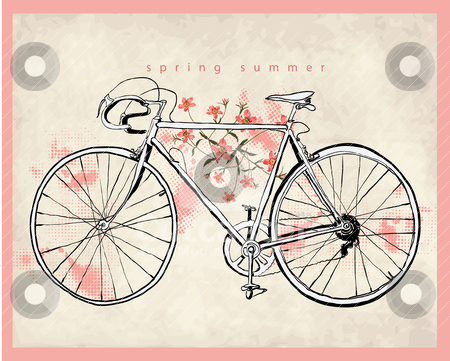 450x361 Flower Vintage Bicycle Illustration Stock Vector Clipart