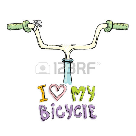 450x450 I Love My Bicycle Concept Design. Hand Drawn Vintage Bicycle