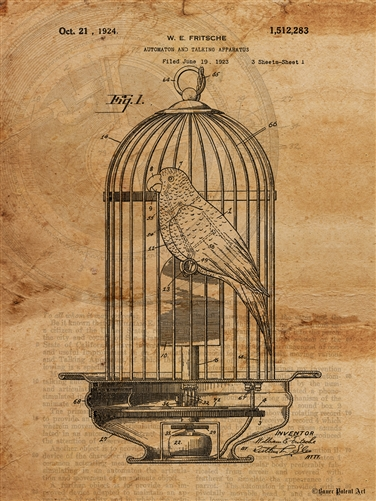 376x501 Patent Art Drawing Of Mechanical Bird In Birdcage