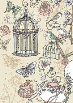 236x333 Vintage Cage With Birds Words Bird, Ladies Retreat