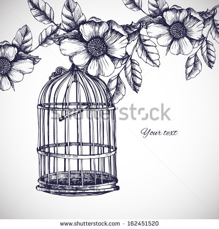 450x470 Vintage Birdcage And Flowers Drawing