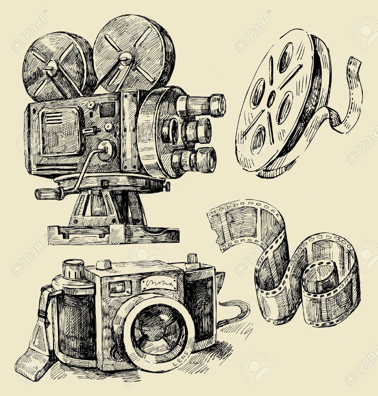 1242x1300 Cameras Hand Drawn Royalty Free Cliparts, Vectors, And Stock