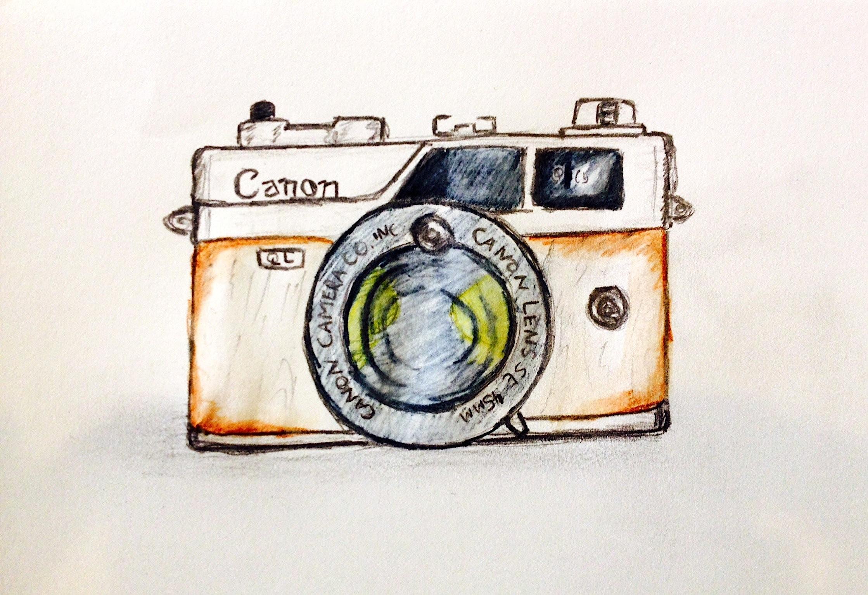 2238x1534 Canon Vintage Camera Drawing. Art Camera Drawing