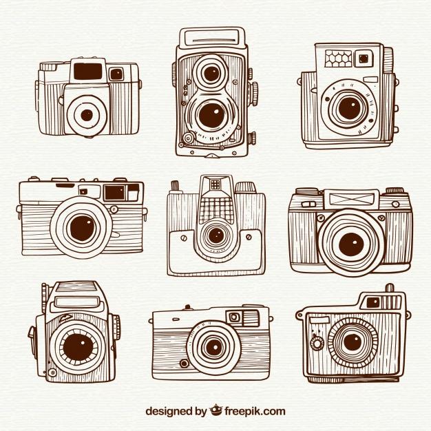 626x626 Hand Drawn Retro Vintage Cameras Collection Vector Free Download