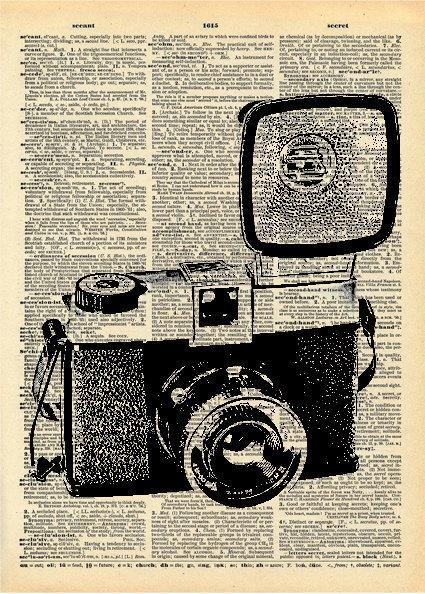 425x594 Vintage Camera Drawing Vintage Book Art Print