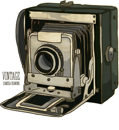 500x549 Vintage Camera Hand Drawing Vectors Set 06