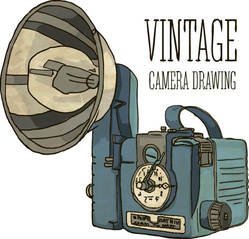 500x480 Vintage Camera Hand Drawing Vectors Set 10