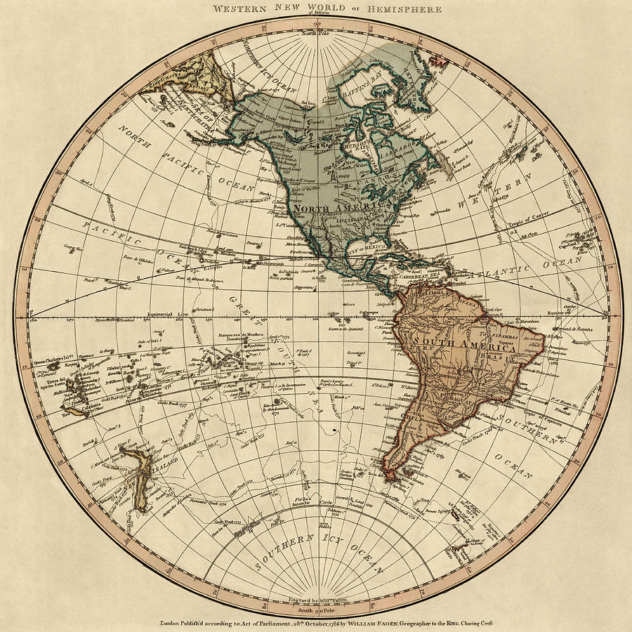 900x900 Antique Map Of The Western Hemisphere By William Faden