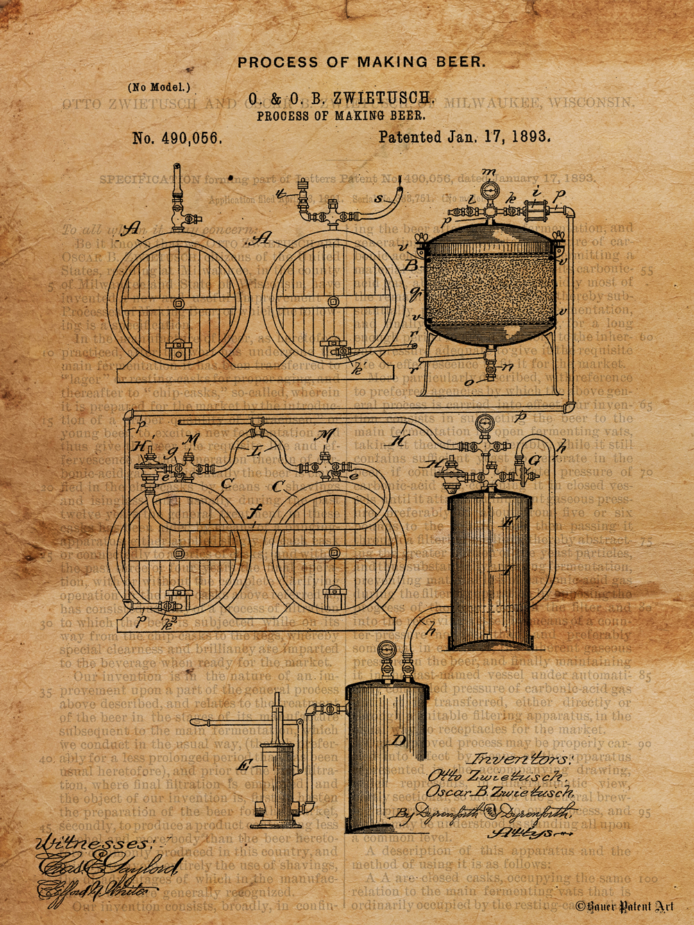 1000x1333 Patent Art Drawing Of Beer Making Process