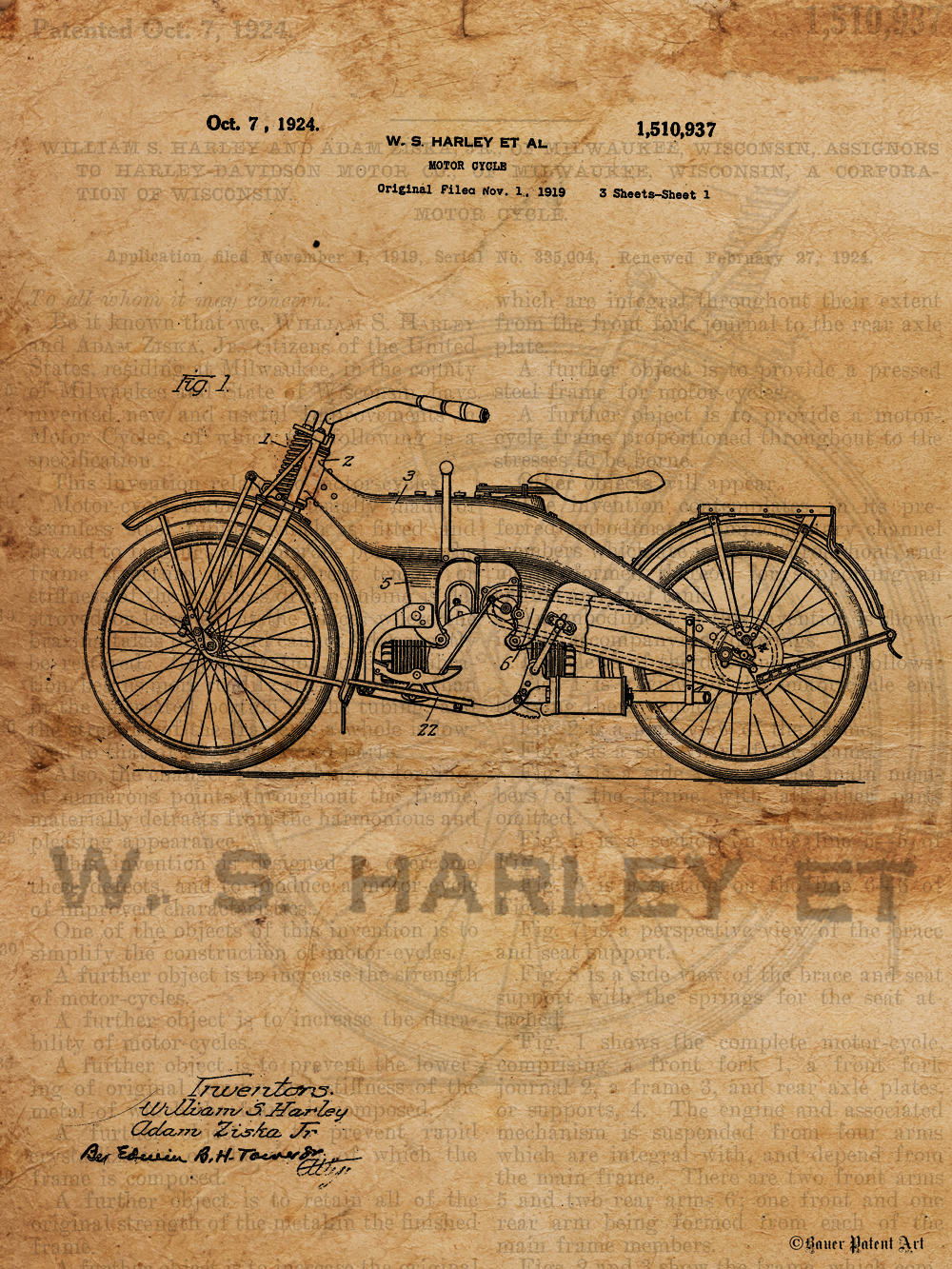 1000x1333 Vintage Patent Drawing Art Of Old Harley Davidson Motorcycle