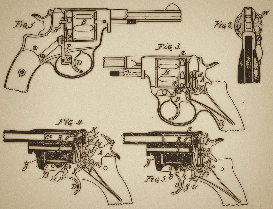 900x689 Vintage Colt Revolver Drawing Mixed Media By Nenad Cerovic