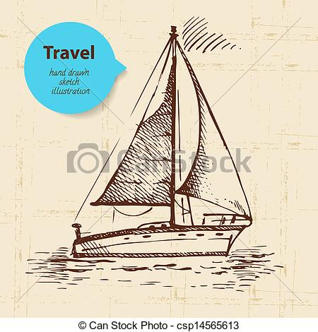 450x470 Vintage Travel Background With Boat. Hand Drawn Illustration