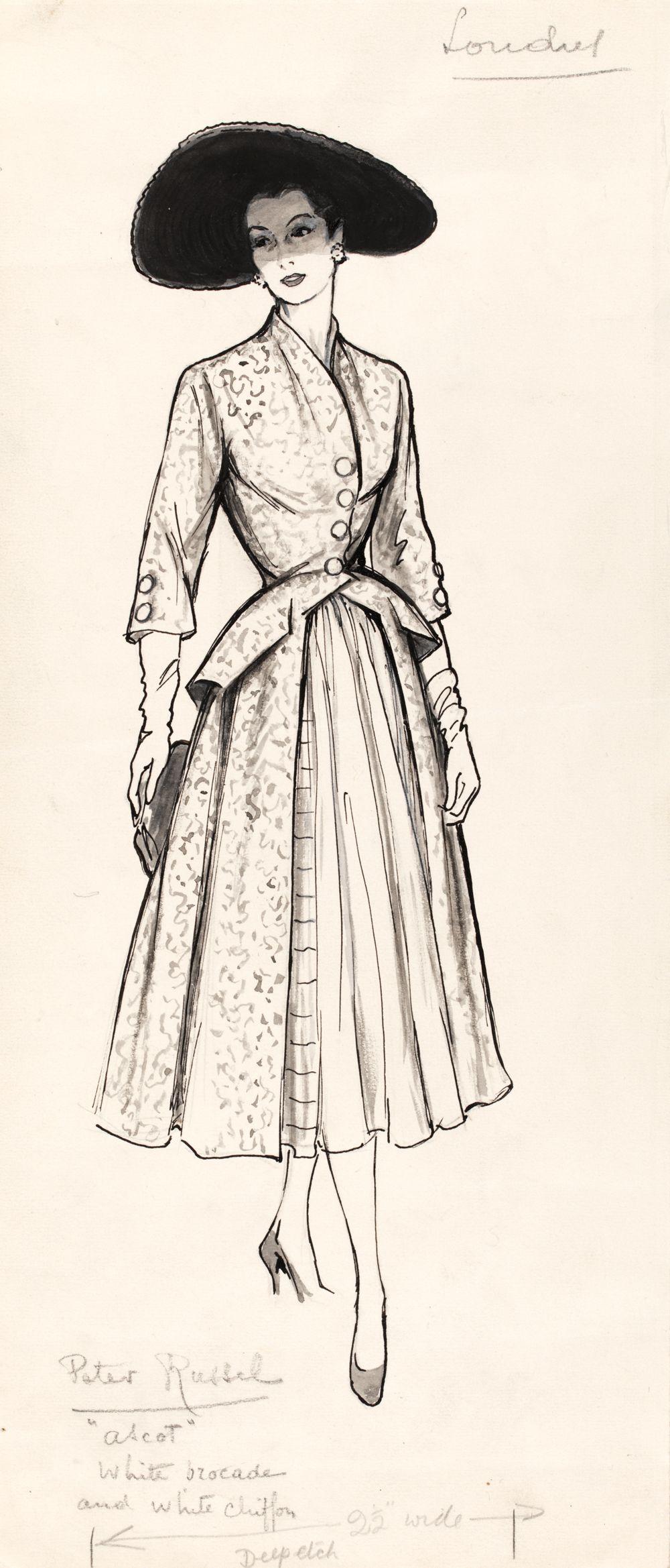 1000x2338 Marcel Fromenti (1886 1969), Fashion Illustration, London, 1953 4