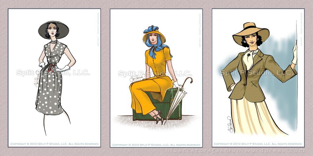 1024x512 Vintage Fashion Inspired Drawings (Luggage Tags) Fashion